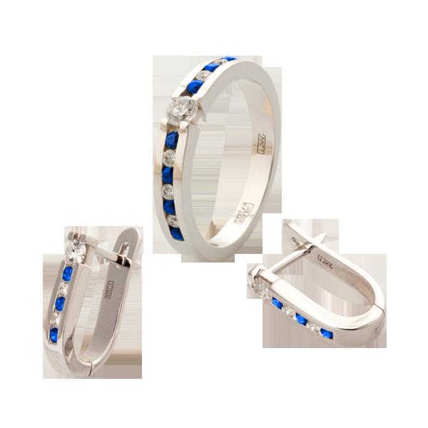 набор из золота серьги и кольцо
