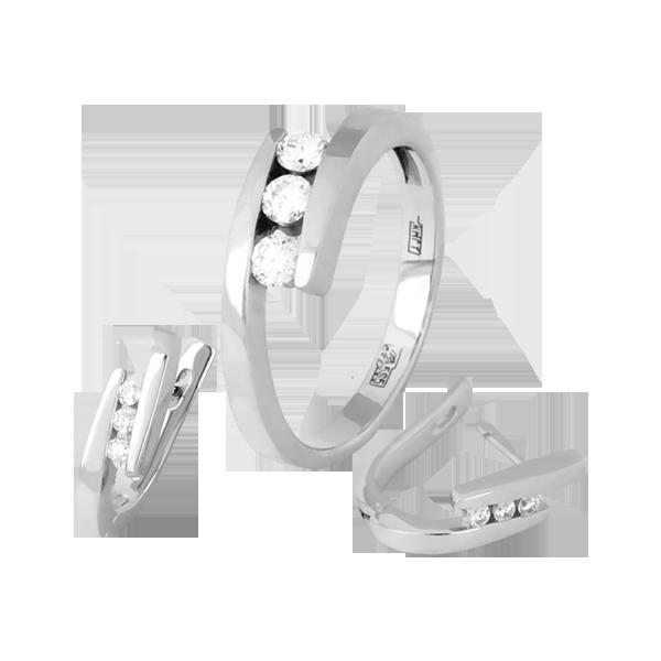 набор серьги и кольцо с бриллиантами