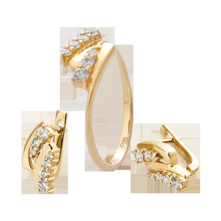 0da806d8478b Комплекты с бриллиантами, кольца, серьги, бриллианты   Комплект с  бриллиантами Эдельвейс  кольца, серьги, подвески, золото и бриллианты