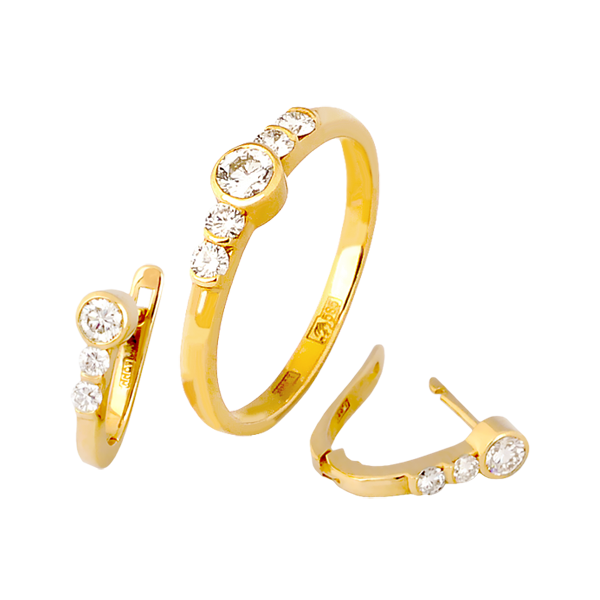 Комплект золотые серьги и кольцо